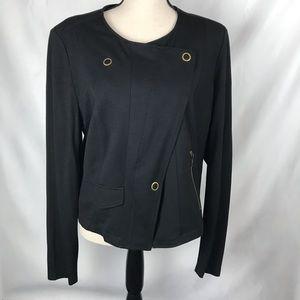 CAbi Moto Black Ponte Knit Jacket Large